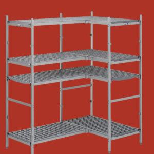 Regały aluminiowe z półkami z polietylenu